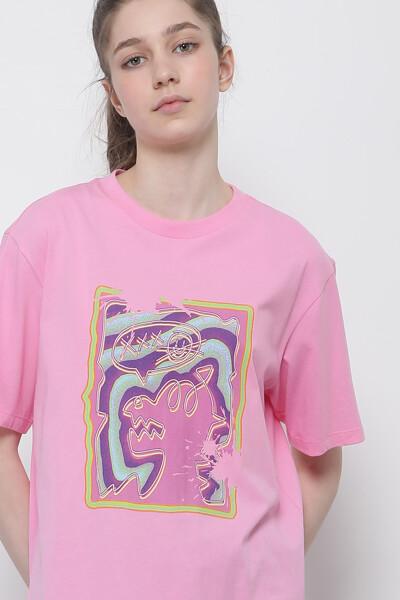 코튼 사이키델릭 디노 티셔츠