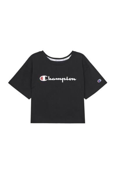 [US] 여성 Champion 로고 크롭티셔츠 (BLACK) CKTS0E065BK
