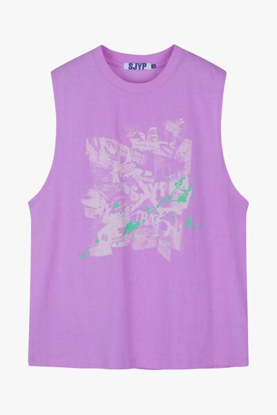 박시핏 슬리브리스 티셔츠
