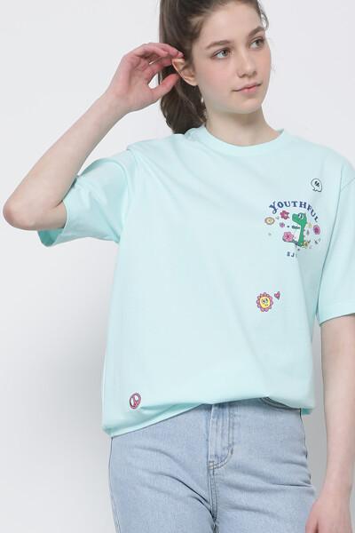 코튼 플라워 플레이 디노 반팔 티셔츠