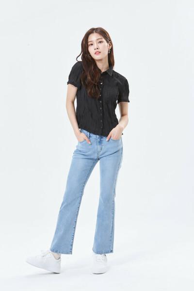 크롭 반팔 셔츠 OL2W4121