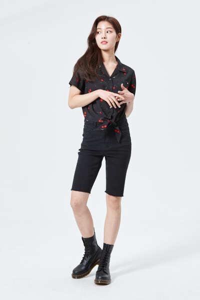 타이드 패턴 반팔 셔츠 OL2W4122