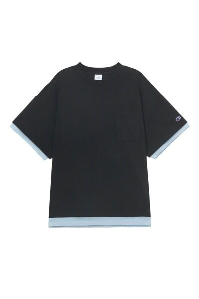 [ASIA] New York Champion 그래픽 반팔 티셔츠 (BLACK) CKTS1E222BK
