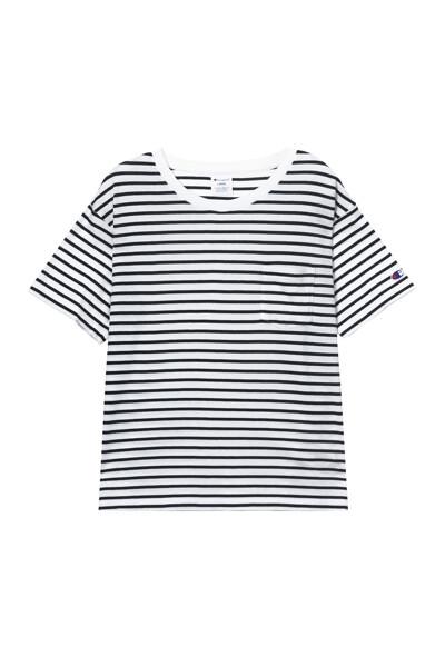 [ASIA] 쇼트슬리브 보더티셔츠 (WHITE) CKTS1E173WT