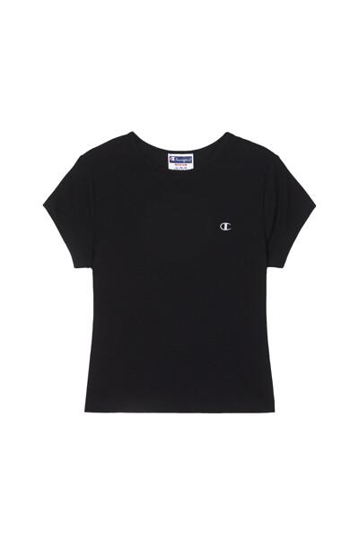 [US] 여성 C로고 립 크롭 반팔 티셔츠 (BLACK) CKTS1E360BK