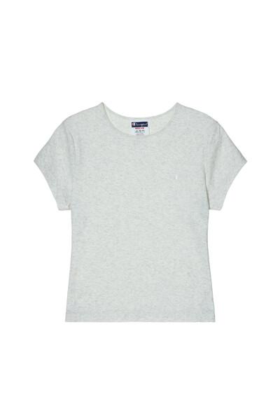 [US] 여성 C로고 립 크롭 반팔 티셔츠 (LIGHT GRAY) CKTS1E360G1