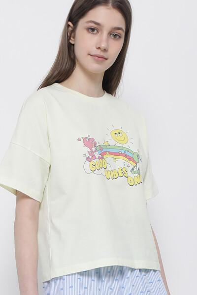 굿 바이브 디노 크롭 티셔츠