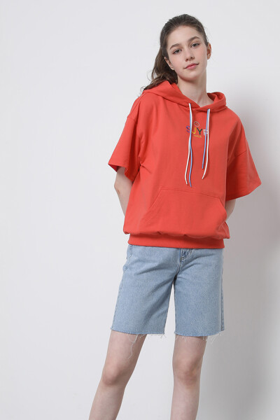 컬러 엠브로이드 후드 티셔츠