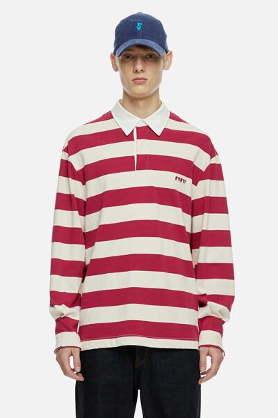 코튼 스트라이프 럭비 티셔츠