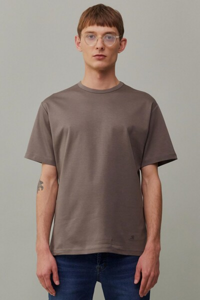 [RAUM MEN] 카키 단색 면 반팔티셔츠 (ROTS1E672K1)