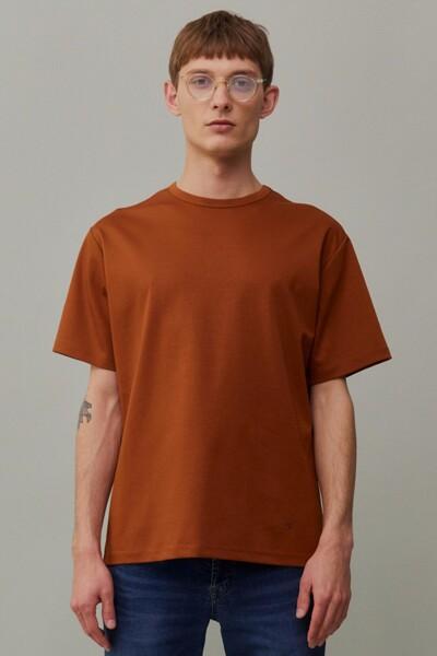 [RAUM MEN] 브라운 단색 면 반팔티셔츠 (ROTS1E672W2)