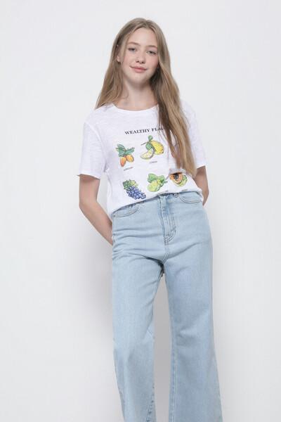 후르츠 프린트 반팔 티셔츠