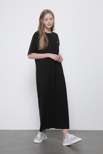 백 프린트 저지 드레스
