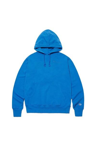 [US] Vintage Dye 7.3oz Lightweight Champion로고 기모 후드티셔츠 (NORMAL BLUE) CKTS1F603B2