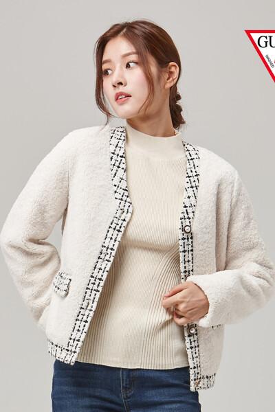 [게스] 여성 트링밍장식 뽀글이 자켓 OL4K4611