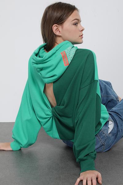 코튼 오버핏 백 트위스트 후드 티셔츠