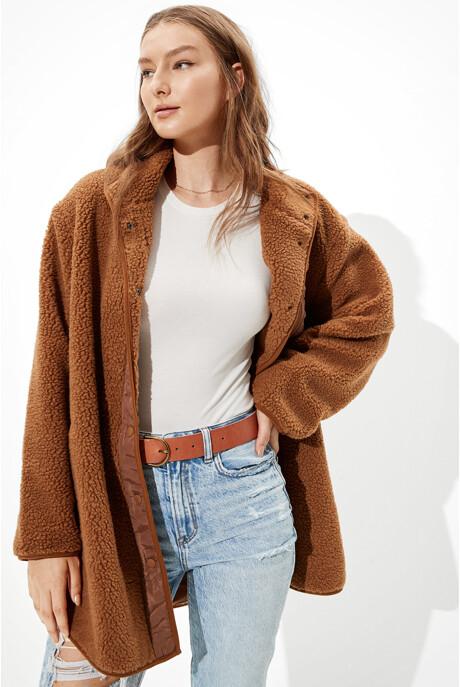 [여성] 셔츠 테일 롱 셰르파 자켓