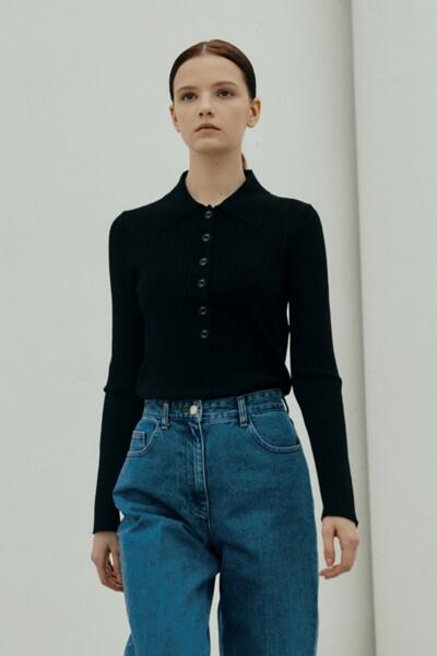[소소 착용] Collar Rib Pullover BLACK (JYSW1D910BK)