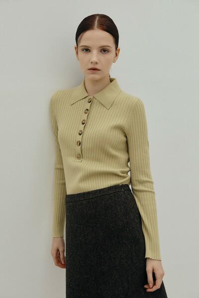 Collar Rib Pullover YELLOW GREEN (JYSW1D910E1)