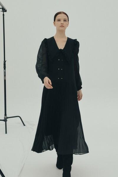 Ruffled-collar Dress BLACK (JYDR1D911BK)