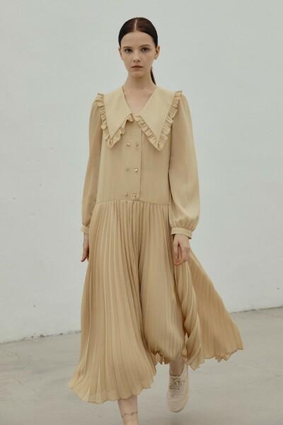 [소소 착용] Ruffled-collar Dress YELLOW (JYDR1D911GD)