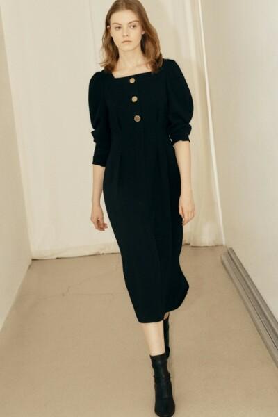 Square Neck Slim Dress BLACK (JYDR1D912BK)