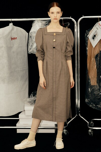 Square Neck Slim Dress BURGUNDY (JYDR1D912W2)