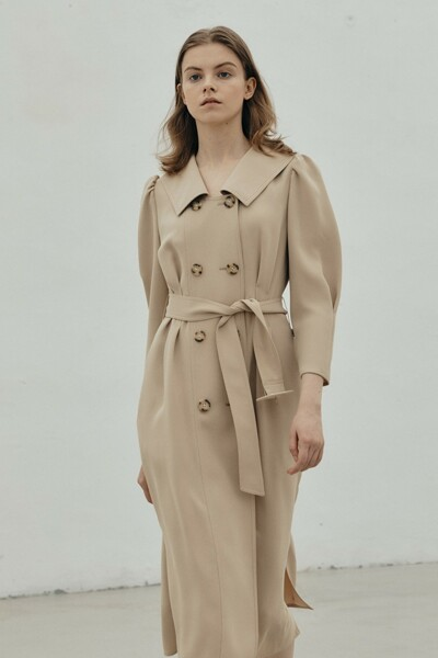 Double Button Belted Dress BEIGE (JYDR1D913I2)
