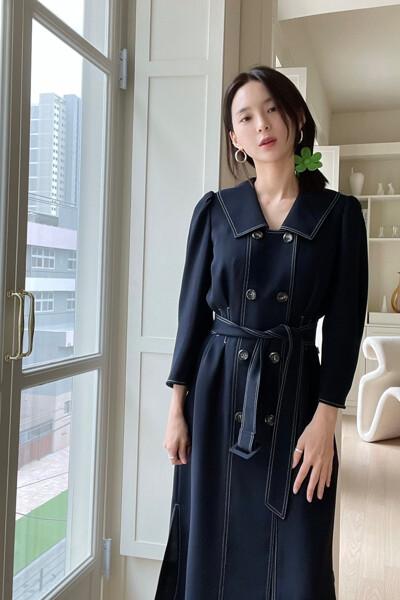 [김수미 착용] Double Button Belted Dress DARK NAVY (JYDR1D913N3)