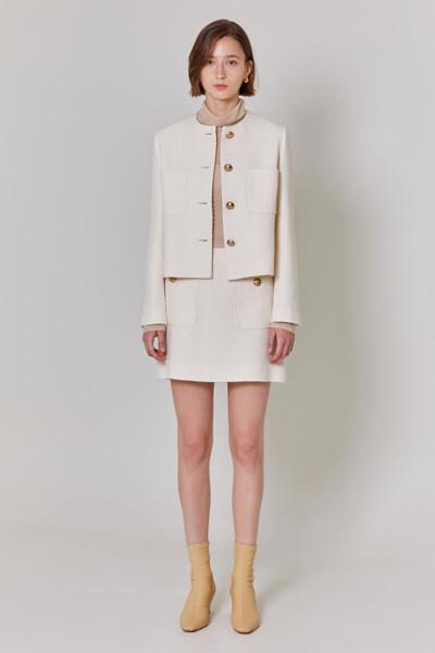 Tweed Cropped Single Jacket (JJJA1D900IV)