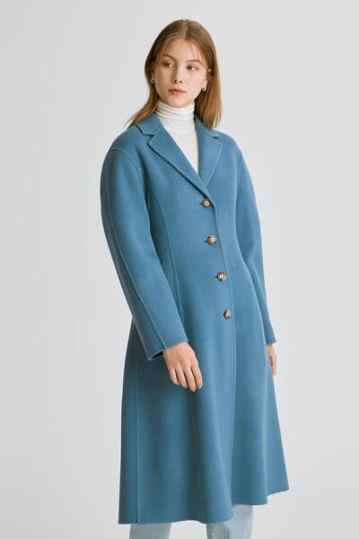 블루 단색 울캐시미어혼방 코트 (JSCO1D210B2)