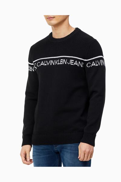 남성 CALVIN KLEIN JEANS 로고 크루넥 스웨터 J317116-BEH J317116BEH