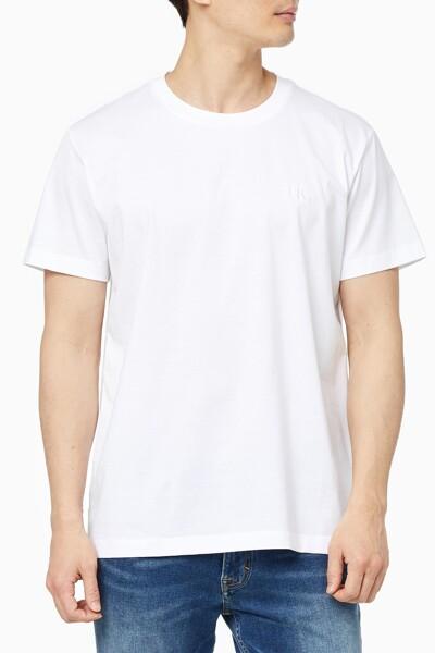 남성 슬림핏 머서라이즈 라운드넥 반팔 티셔츠 J318046-YAF J318046YAF