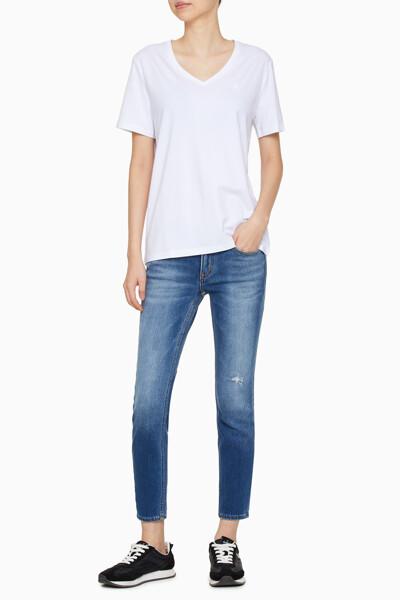여성 썸머 솔리드 니트 티셔츠 J216366-YAF J216366YAF