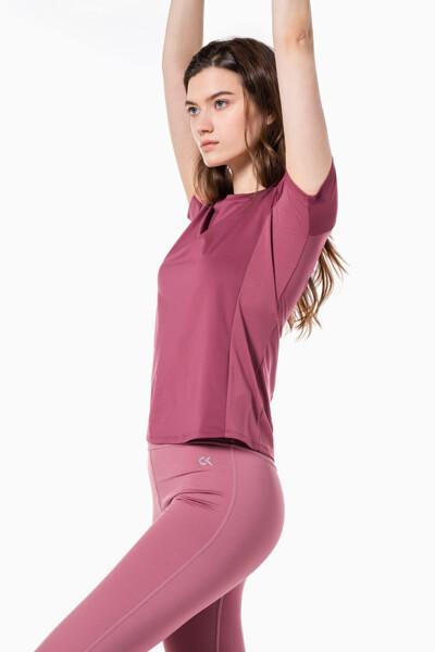 여성 액티브 아이콘 메쉬 백 티셔츠 4WS1K137-649 4WS1K137649