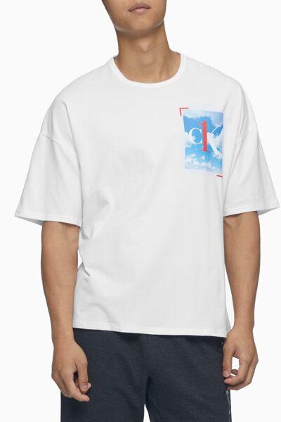 남성 CK ONE 그래픽 로고 라운지 숏 슬리브 크루넥 탑 NM2037-100 NM2037100