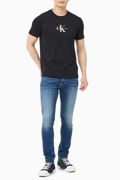남성 CK 모노그램 레인보우 반팔 티셔츠 J318108-BEH J318108BEH