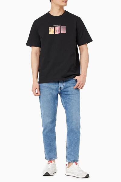 남성 팜 프린트 그래픽 크루넥 반팔 티셔츠 J318458-BEH J318458BEH