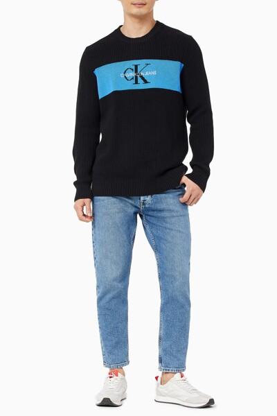 남성 컬러 블로킹 로고 스웨터 J318185-BEH J318185BEH