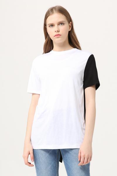 백슬릿 크루넥 타이 티셔츠