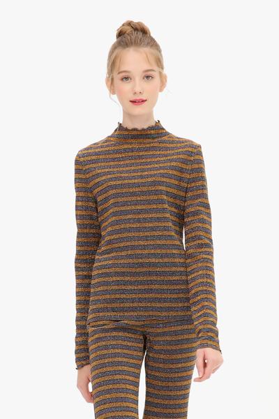 메탈 프릴 반하이넥 티셔츠