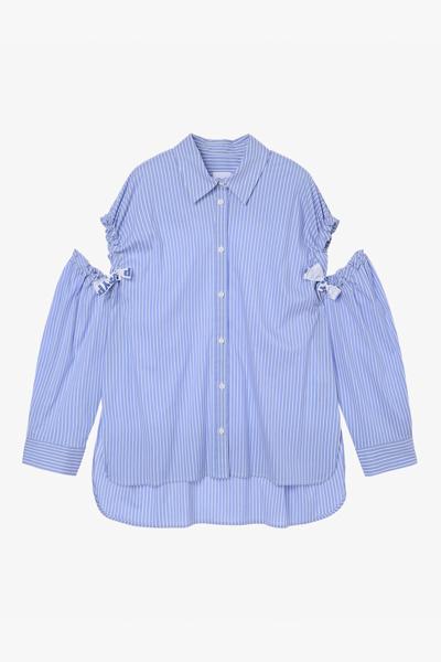 면 혼방 스트라이프 숄더 오픈 셔츠
