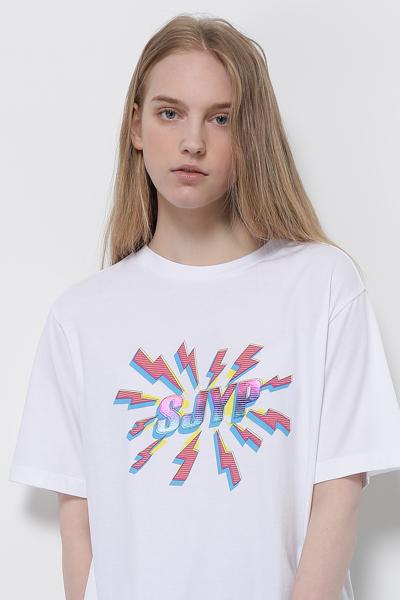 코튼 박시핏 로고 반소매 티셔츠