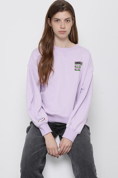 코튼 오버핏 넥 포인트 스웻 티셔츠
