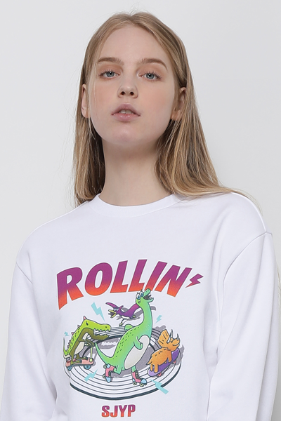 코튼 오버핏 디노 롤린 스웻 티셔츠