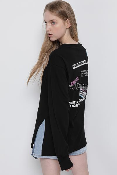 코튼 박시핏 로고 롱 슬리브 티셔츠
