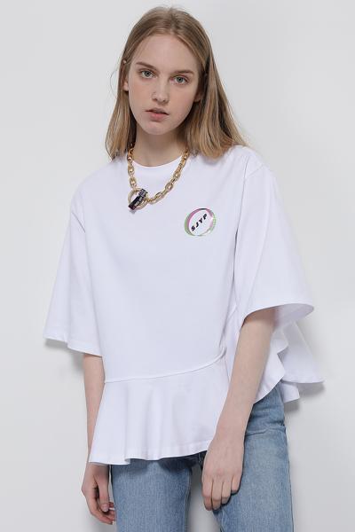 코튼 오버핏 프릴 반소매 티셔츠