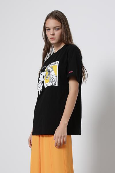 코튼 디노 프린트 반소매 티셔츠