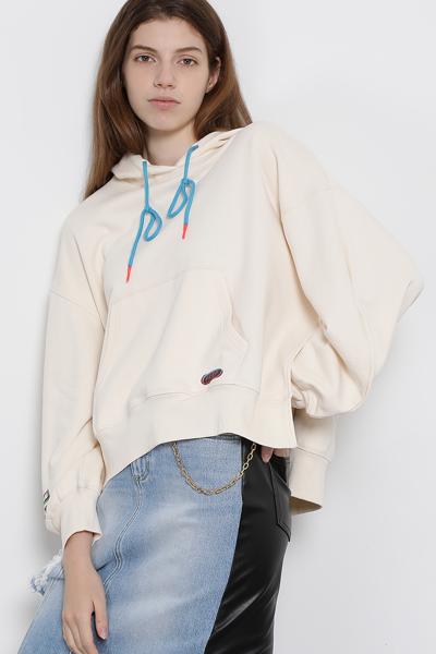 코튼 오버핏 사이드 슬릿 후드 티셔츠
