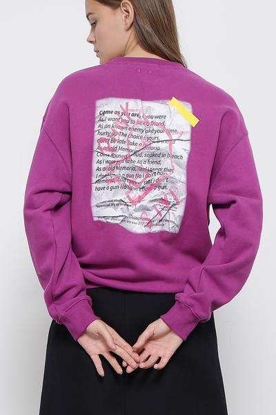플리스 그래픽프린트 라운드넥 티셔츠